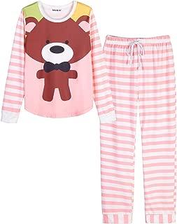 Women Pajamas Cute Christmas Bear Sleepwear Long Sleeve Stripes Loungewear