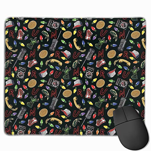Mouse Pad with Stitched Edge, Stranger Things Mouse Mat, Non-Slip Rubber Base Mousepad for Laptop, Computer & Pc