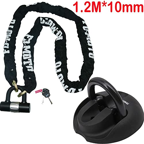 Bike-It Mammoth Security Hexagon Lock and Chain with Flip Ground Anchor Bundle