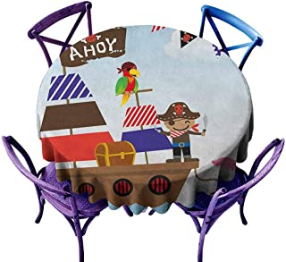 ONECUTE Anti-Fading Tablecloths,Ahoy Its a Boy Cute Pirate Kids Treasure Chest with Ship on Ocean Background Illustration,for Banquet Decoration Dining Table Cover,63 INCH Multicolor