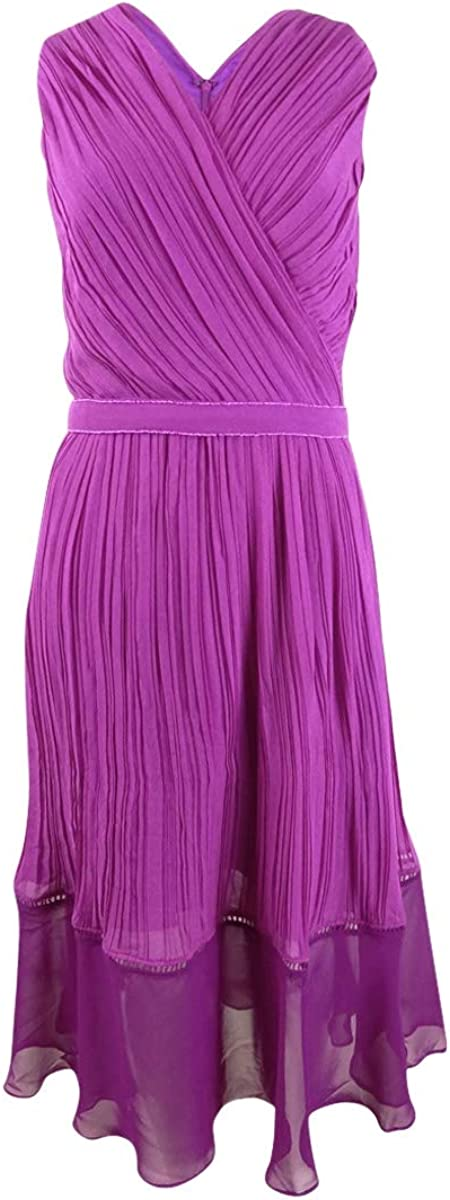 Kay Unger Women's Chicago Mall Pleated Chiffon Max 43% OFF Fuchsia Dress Midi 8