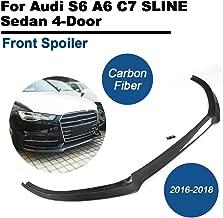 TGFOF Carbon Fiber Front Bumper Lip Chin Spoiler For Audi S6 A6 C7 SLINE Sedan 4 Door 2016-2018