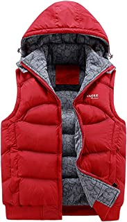 Men's Quilted Gilet Bodywarmer Hooded Quilted Vest Sleeveless Puffer Jacket with Hood