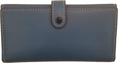Coach 1941 Glovetanned Leather Slim Trifold Wallet, Large, Chambray/Black Copper 86917