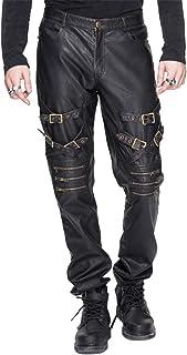 بنطلون رجالي من الجلد الصناعي عصري من الشيطان بشريط إبزيم Steampunk حزام روك مستقيم الساق
