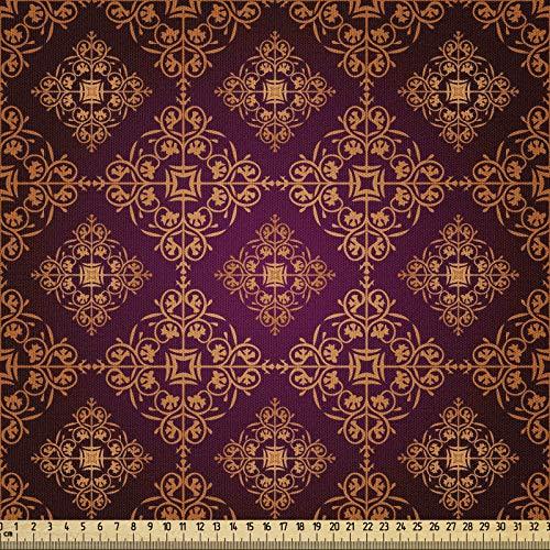 ABAKUHAUS Damasco Tela por Metro, Resumen De Estilo Victoriano, Microfibra Decorativa para Artes y Manualidades, 1M (230x100cm), Naranja Negro Magenta
