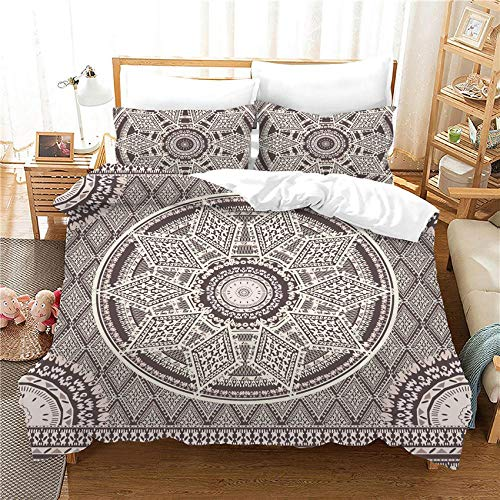 SKYZAHX Bedding Set Duvet Cover Grey Ethnic Flower Microfiber Quilt Cover 86.6x94.4inch and 2 Pillow Cases, with Zipper closure Soft and breathable, King