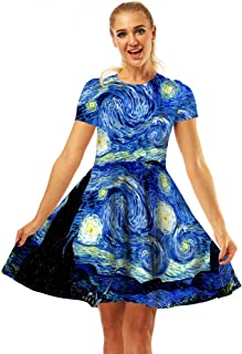Fancy Youyee Women's 3D Print Short Sleeve Casual Flared Midi Dress