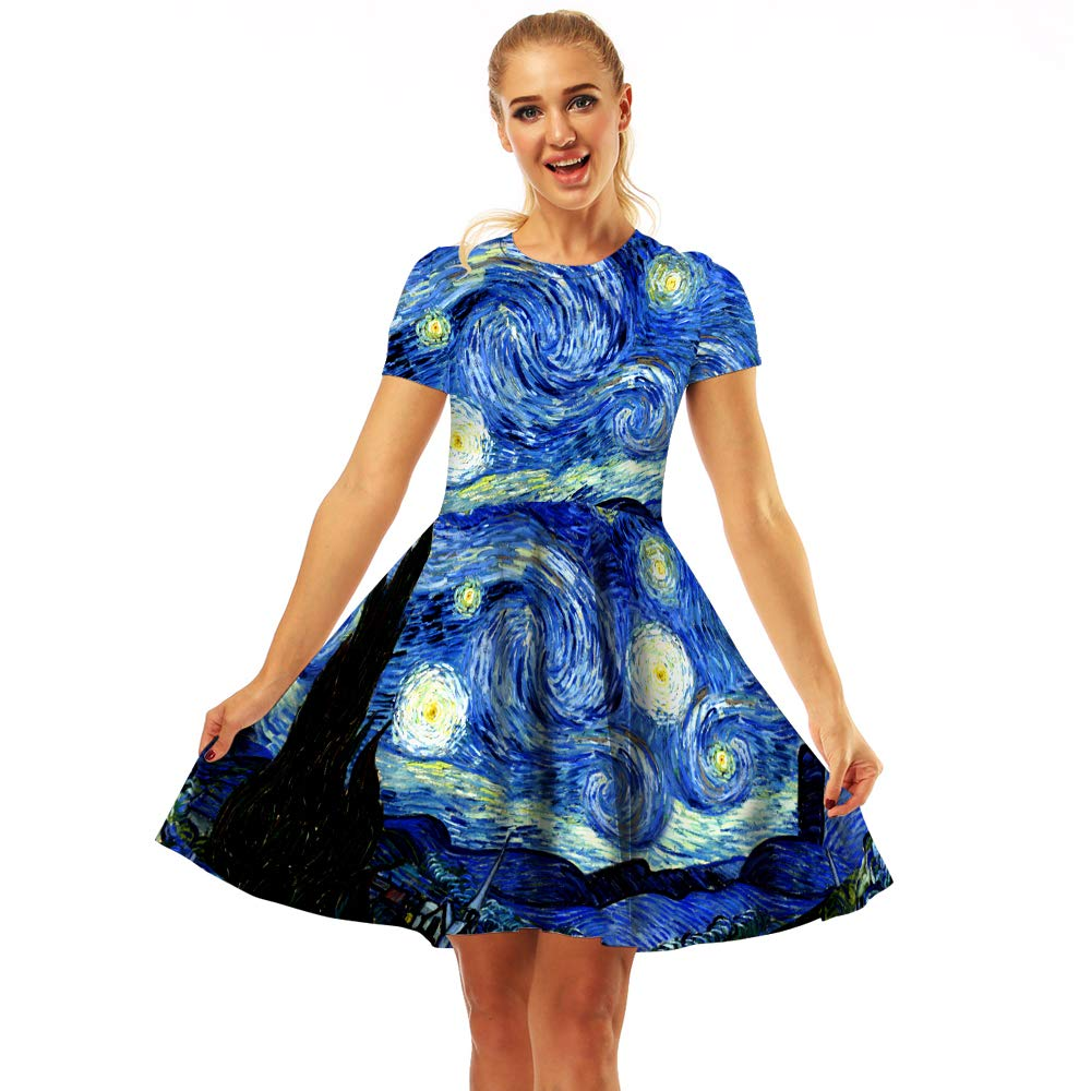 Available at Amazon: Women's Swing Dresses 3D Print Short Sleeve Casual Flared Midi Dresses