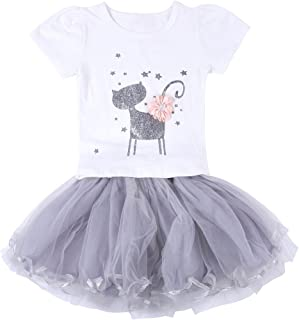 Neeseelily Baby Girls Clothes 2pc Cute T-Shirt+ Tulle Tutu Skirt Cartoon Outfit Set