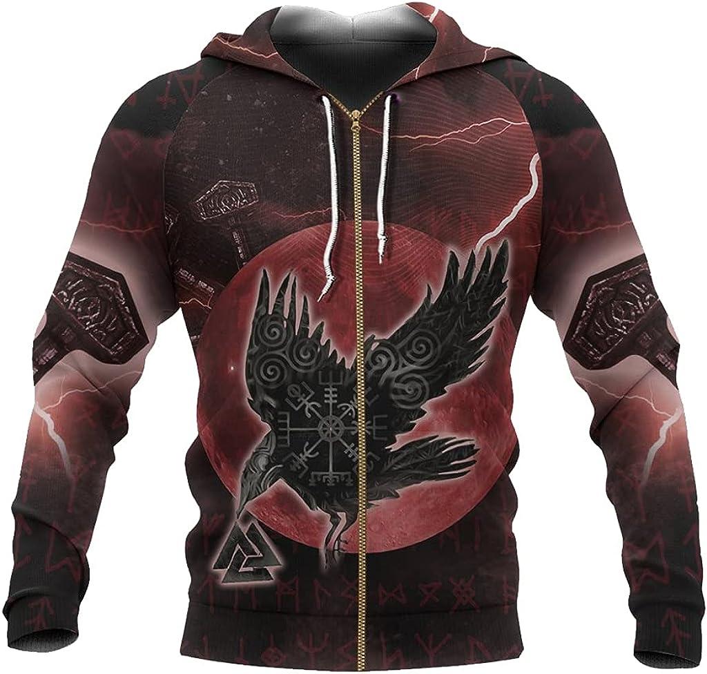 Viking Odin Raven Tattoos Pullover Sweater 3D Full Print Hoodie Norse Myth Loose Zip Sweatshirt Fall Men Harajuku Jacket