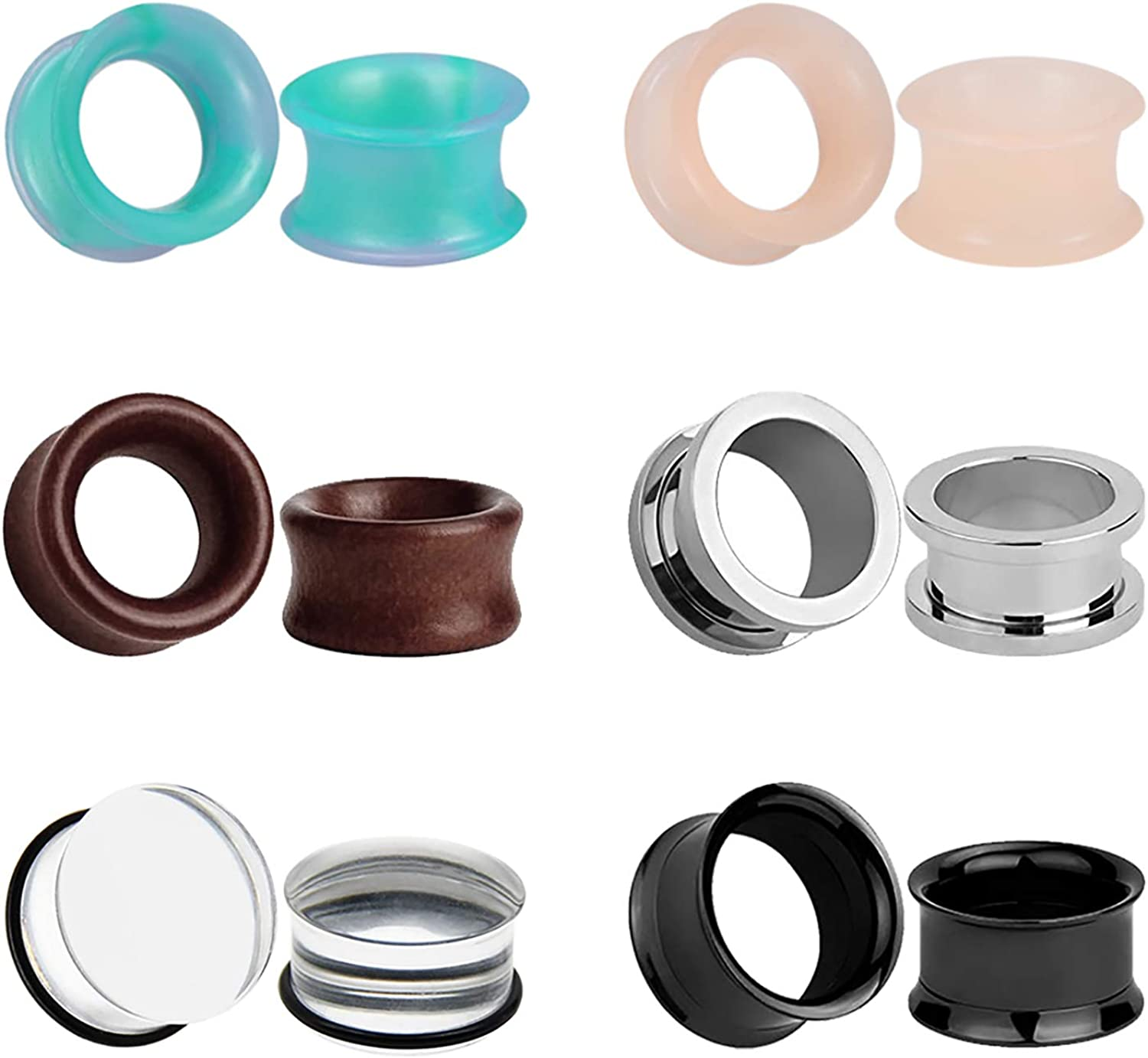 6 Pairs Silicone Time sale Wooden Gauge Austin Mall for Tunnels Gauges Gothic Pl Ears