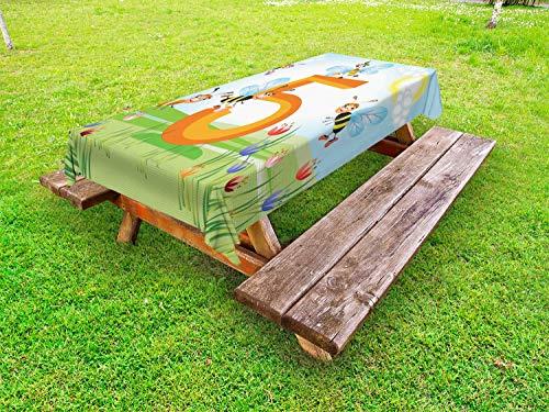 ABAKUHAUS Aantal Tafelkleed voor Buitengebruik, Gelukkig Bijen maken honing, Decoratief Wasbaar Tafelkleed voor Picknicktafel, 58 x 104 cm, Veelkleurig