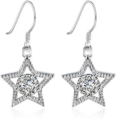 Ms.Swan, orecchini pendenti in argento Sterling 925, a forma di stella, da donna e ragazza, da donna