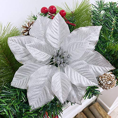 TURNMEON 24 Pack 5.5 Inch Christmas Glitter Poinsettia Artificial Silk Flowers Picks Christmas Tree Ornaments for Gold Christmas Tree Wreaths Garland Holiday Decoration(White Silver)