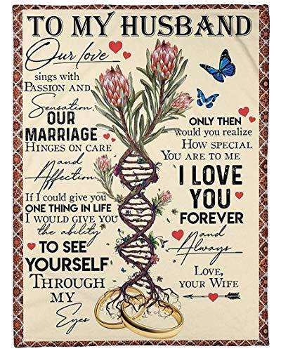to My Husband Arctic Fleece Blanket Nuestro Amor Canta y se Siente Nuestro Matrimonio depende del Cuidado y el afecto Ama a tu Esposa Manta Personalizada