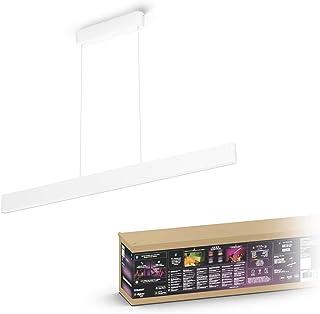 Philips Hue Ensis Lámpara Colgante Inteligente con LED Integrado en Cristal, con Bluetooth, Luz Blanca y Color, Color Blanco