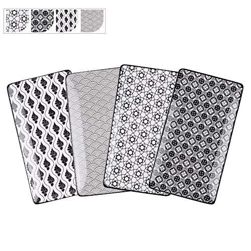 Vancasso Servierplatten Porzellan, Haruka 4 teilig rechteckige Teller Set aus Porzellan, Servierplatte Geschirr