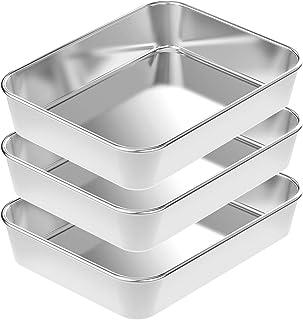 Large Lasagna Pan Set 3, Rectangular Cake Pan Roaster Pasta Baking Cookie Sheet Pan Stainless Steel, 16.1x 12.2 x2.2 Inch, Heavy Duty & Durable, Oven & Dishwasher Safe
