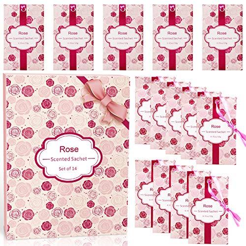 LA BELLEFÉE Sacchetti Profumati Bustine Aroma Rosa per Profumare Vestiti Armadi Cassetti Scarpiera Bagni (10g x 14 bustine)