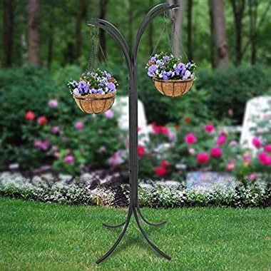 ZENY 4 Basket Arm Tree Hanging Patio Stand Rack, Space-Saving Plant Planter, Outdoor Patio Decor