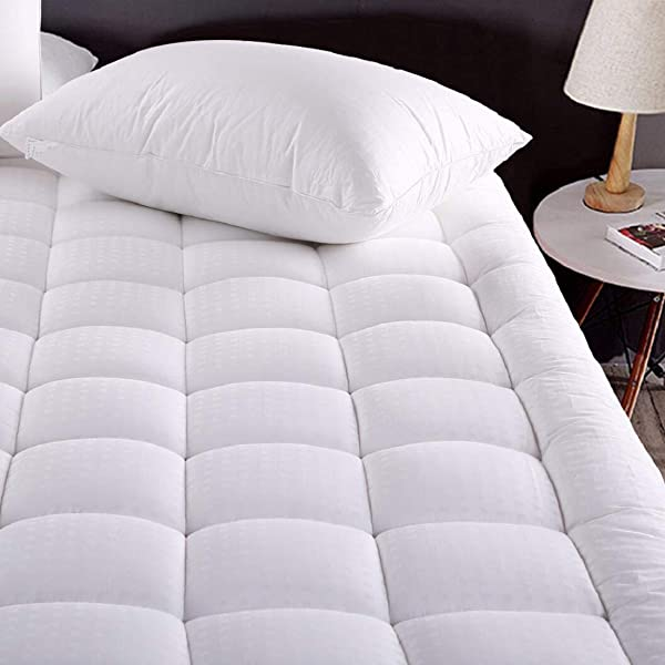 MEROUS King Size Cotton Mattress Pad Pillow Top Quilted Mattress Topper Fitted 8 21 Inch Deep Pocket Mattress Pad Cover