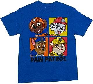 Boys Paw Patrol Four Box Short Sleeve Crew Neck Tee Shirt Chase Marshall - Blue - X-Large 14-16
