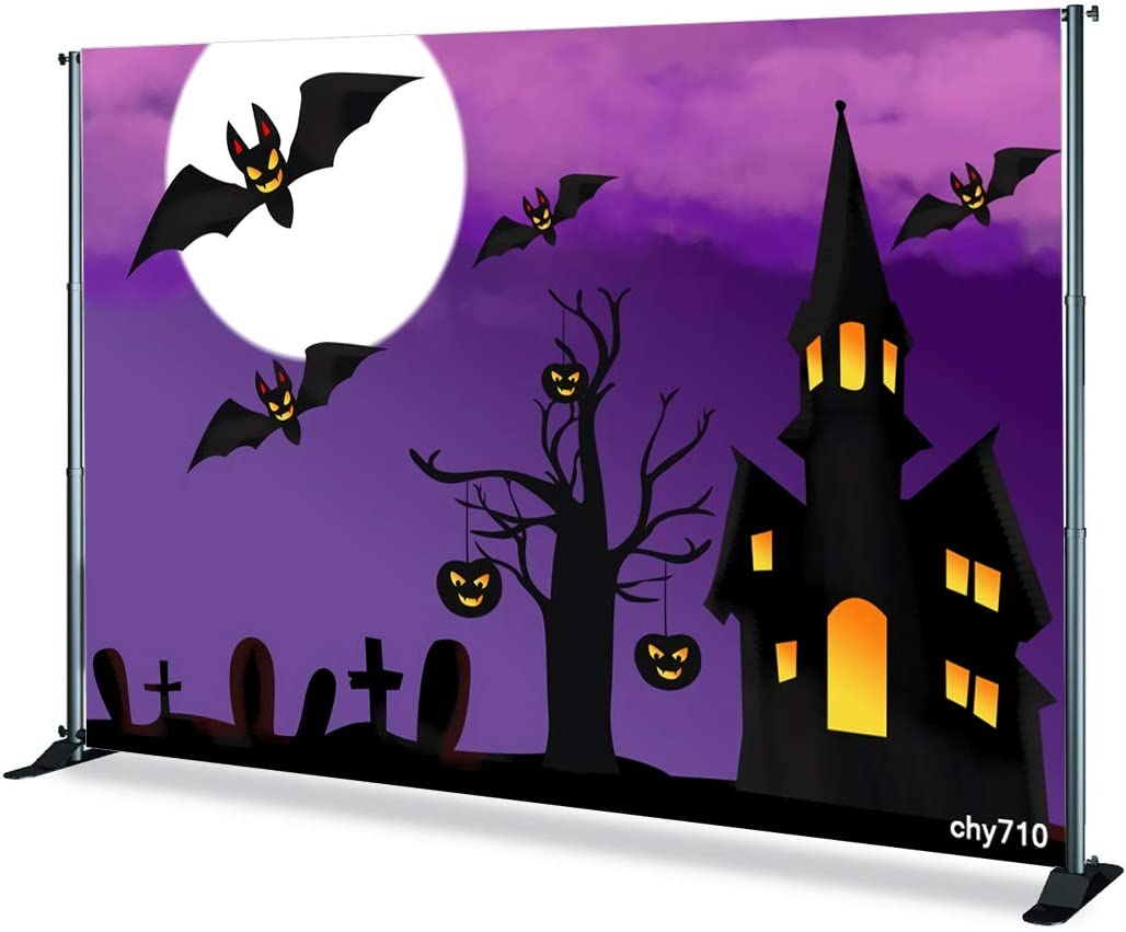 7x5ft,chy709 Levoo Flannel Cartoon Skull Pumpkin Night Background Banner Photography Studio Child Baby Birthday Family Party Halloween Holiday Celebration Photography Backdrop Home Decoration