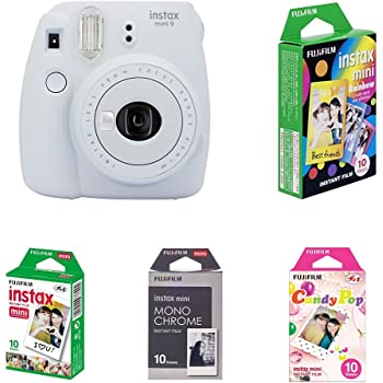 Fujifilm Instax Mini 9 Kamera, smoky weiß mit Film Box