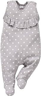 Pinokio Einhorn Kollektion - Baby Mädchen Strampler 100% Baumwolle, grau mit Punkten in weiß, Allover Bedruckt. Strampelanzug/Schlafanzug ärmellos