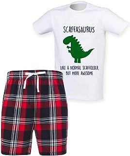 60 Second Makeover Limited Mens Scaffolder Dinosaur Christmas Tartan Short Pyjama Set Family Matching Twinning