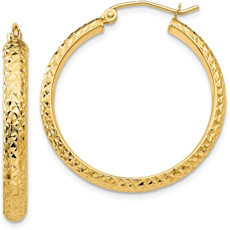 Beautiful Yellow gold 14K Yellowgold 14K Diamondcut 3.5x28mm Hollow Hoop Earrings