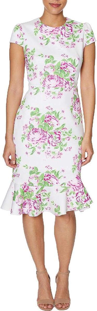 Betsey Johnson Trendy Plus Size Floral Ruffle-Hem Dress, Floral Bouquet 18W