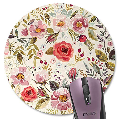Knseva Vintage Floral Print Art Shabby Chic Round Mouse Pad Abstract Watercolor Spring Poppies Flowers Roses Buds Leaves Romantic Circular Mouse Pads