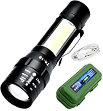 ELON 360 T6-19 Flashlight with Side Light COB LED USB Rechargeable Super Bright Torch Outdoor Emergency Lighting - Black