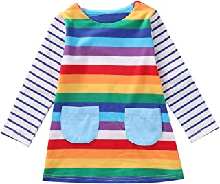 48b620420ab Cute Toddler Baby Kids Girl Long Sleeve Striped Rainbow Party Princess Dress  Spring Autumn Clothes