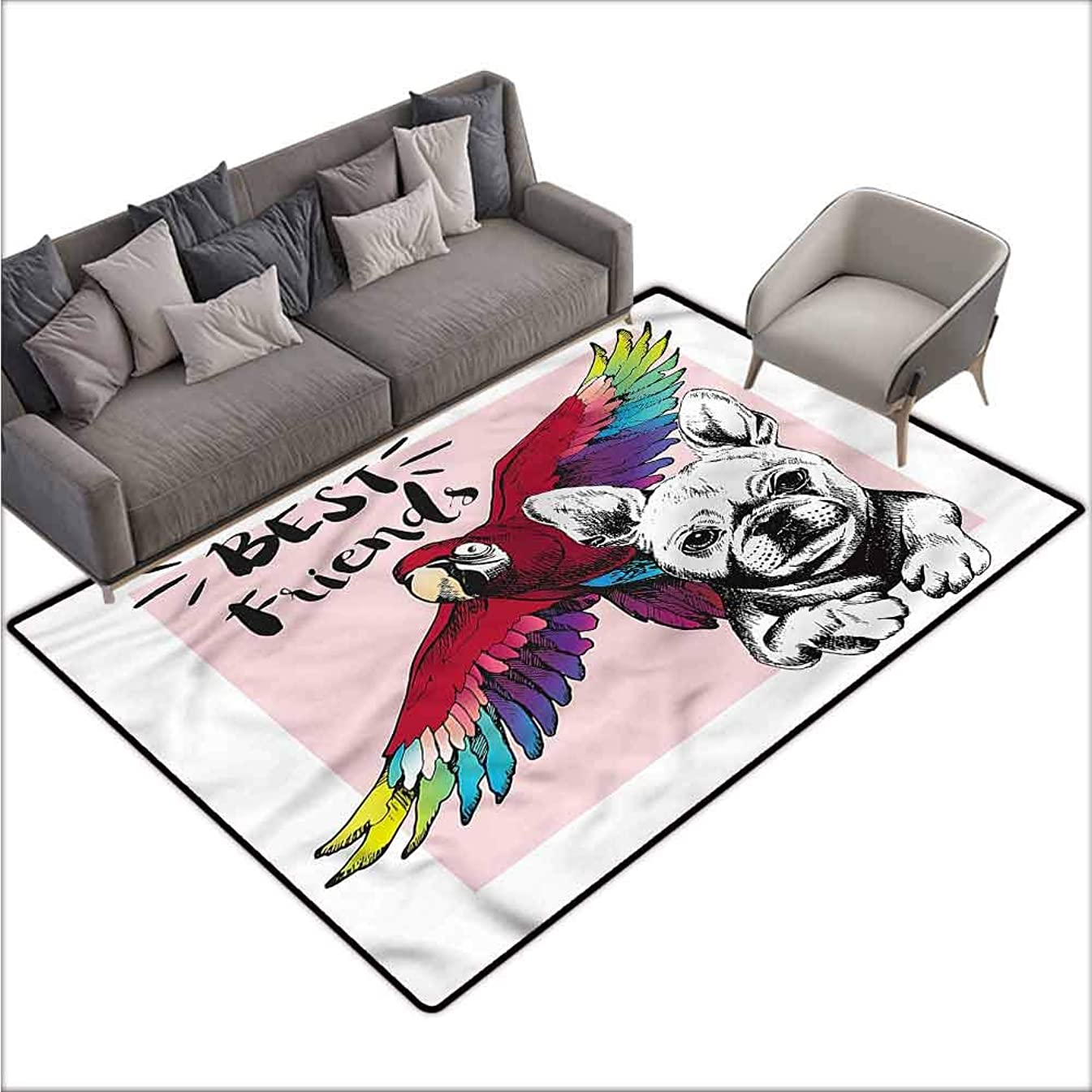 Living Room Bedroom Carpets Modern,Bulldog Parrot Friends 36