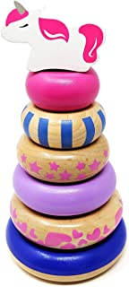 Orcamor Wooden Stacking Rings Toy with Unicorn Topper - Montessori Toy for Toddler Girls 1 Year Old and Up - 8 Inches Tall