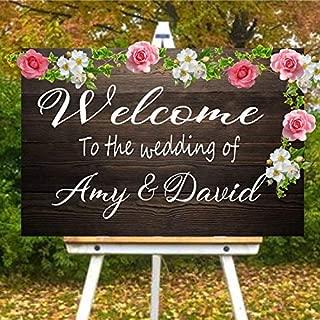 HNXDP Etiqueta personalizada con el nombre de la novia y el novio Bienvenido a nuestra cita de boda Calcomanía Vinilo Cartel de boda Espejo Decoración de arte Fondo de pantalla 57x33cm