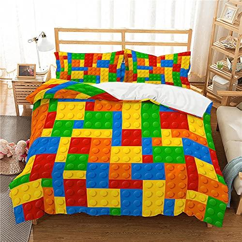 Funda Nordica Cama 90, Bloques de Construcción Impresos en 3D Lego, Hipoalergénico Juego de Cama 135x200 cm, 1 Funda Edredon + 1 Fundas de Almohada 50x75 cm ( Cierre de Cremallera )