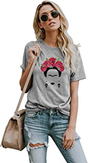 Womens Frida Kahlo Mexican Personalized Artist Short Sleeve T Shirt Round Neck Tees