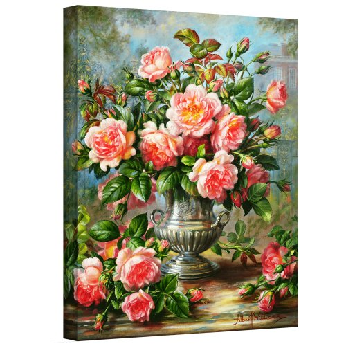 Kunst muur williams-b-004-26x32-w Albert Williams 'Engels Elegance Roses in een zilveren vaas' Gallery-verpakt Canvas Artwork, 26 door 32-Inch