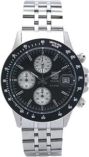 [エルジン]ELGIN 腕時計 200M防水 クロノグラフ 日本製セイコームーブメント オールステンレス ブラック FK1408S-B メンズ