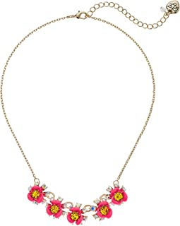 Betsey Johnson - Pink and Gold Flower Frontal Necklace