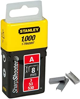 """Stanley 1-TRA205T""""Type A"""" Staples, Silver, 8 mm, Set of 1000 Piece"""