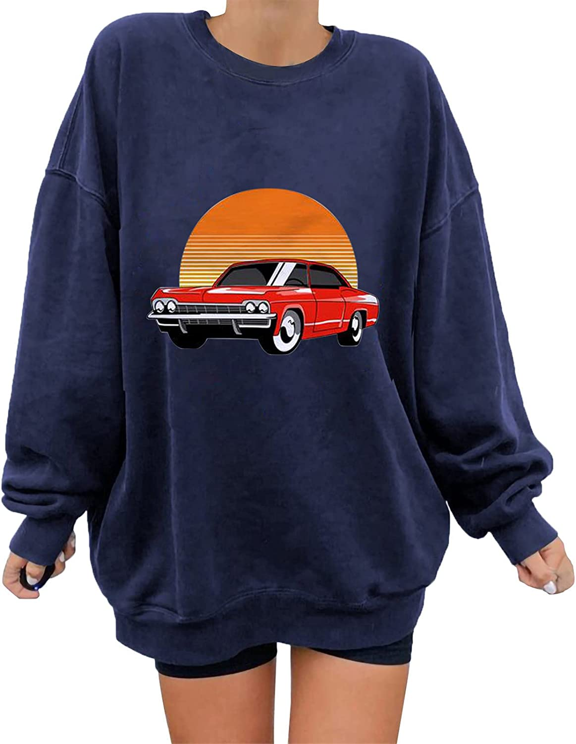 Womens Cute Sweatshirt Classic Car Print Tops Fashion Long Sleeve Blouse Round Neck Pullover Plus Size