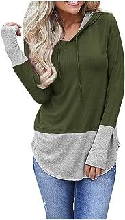 ANJUNIE Women's Loose Pullover Hoodies Patchwork Hooded Sweater Top Sweatshirt Basic Shirt