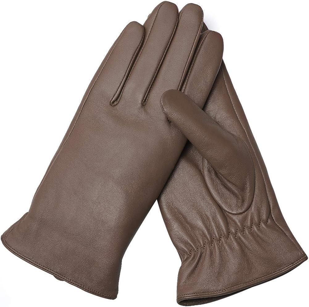 AMVELOP Warm Women Leather Touchscreen Gloves Lambskin Driving Gloves