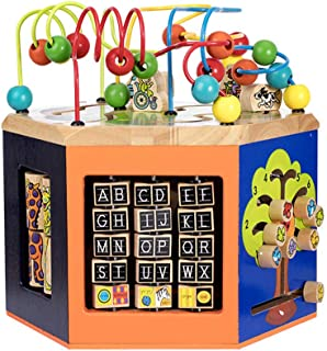 Wooden Activity Cube Toy Boy and Girl Gifts, Child Bead Maze Toy Baby Birthday Present