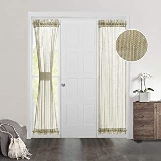 MIULEE Linen Textured French Door Curtains Natural Semi Transparent Sheer Blinds for Privacy 1 Pair 25 x 72 Long Brown